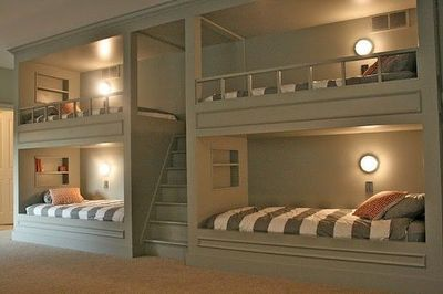 DREAMY Built in Bunk Beds With Lights Cubbies amp Stai