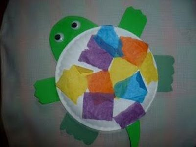 Paper plate turtle craft with tissue paper shell & Paper plate turtle craft with tissue paper shell / Preschool items ...