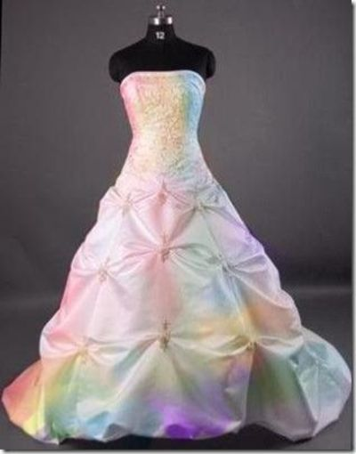 Pastel rainbow wedding dress gowns juxtapost for Different colored wedding dresses