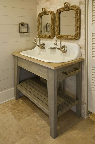 hmmmm... farmhouse bathroom sinks option 2? / bath ideas - Juxtapost