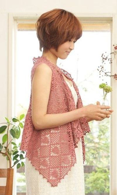 Crochet sleeveless shirt - free pattern -Japanese diagram