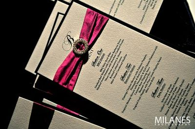 Hot Pink White And Black Wedding Invitations