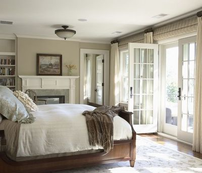 Beautiful Traditional Bedroom Design With Tan Walls Paint