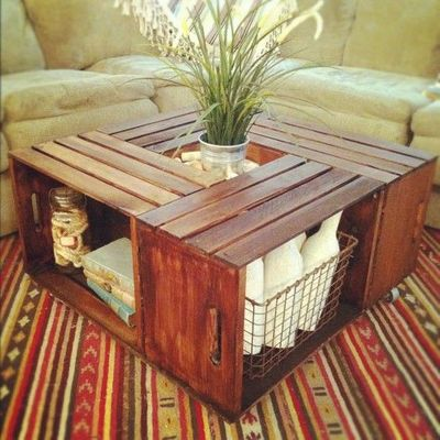 coffee table made from crates! crates sold at michael's. / for the