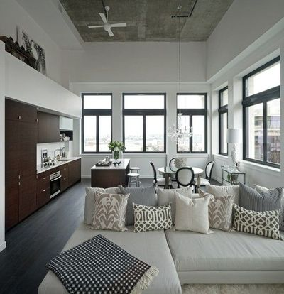 Suzie: The Cross Decor & Design - Beautiful loft design with ebony matte wood floor, tan linen ...