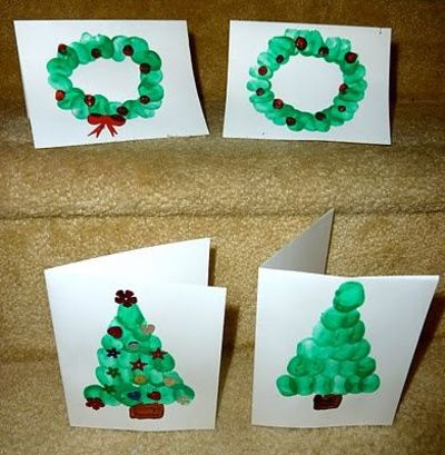 finger print christmas cards ideas tree with finger print ornaments