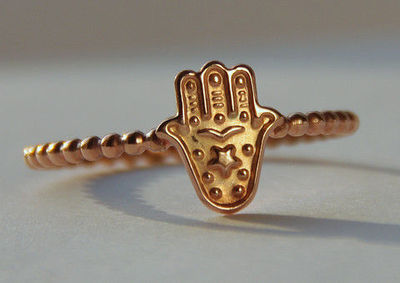 ROSE gold filled Hamsa, Hand of Myriam Stack Ring, Hamsa Stackable Ring, Good luck ring, Judaica Jewelry