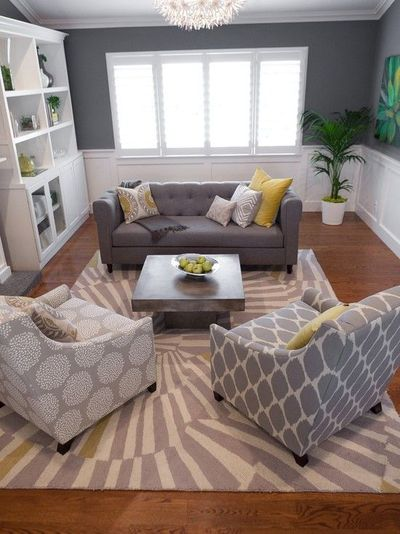 Grey And Yellow Livingroom Design. Love the mix of prints, t ...