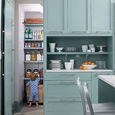 aqua blue kitchen cabinets on one wall / For my kitchen - Juxtapost