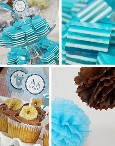 Blue and chocolate brown boy baby shower decorations / foodies