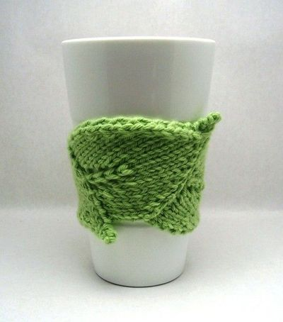Leaf Shaped Knit Coffee Cozy Pdf Pattern Knits And Kits Juxtapost