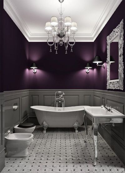 plum and gray bathroom bath ideas juxtapost