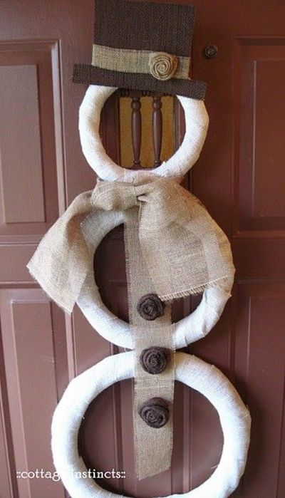 Burlap snowman door decoration could make this with straw for Burlap snowman wreath