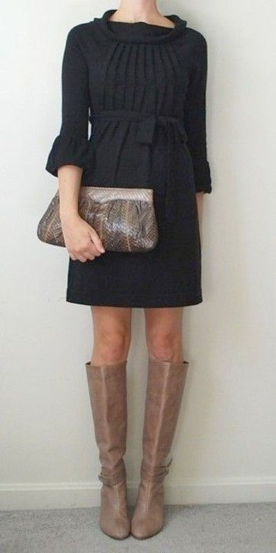 Little black dress, leather knee-high boots, snakeskin clutch purse
