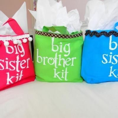 "Put together a ""Big Brother"" or ""Big Sister"" kit as a gift at the hospital for the older siblings."