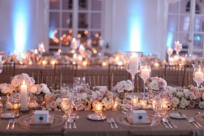 White Cream Gold Blush Estate Table Centerpieces