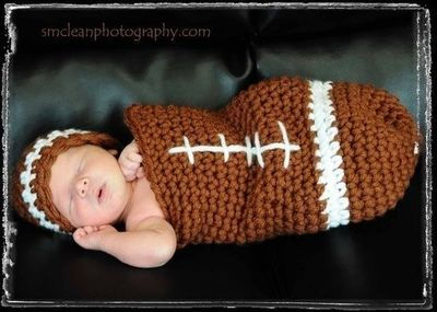 3b38669f341 CROCHET PATTERN Football Baby Cocoon and Hat Photography Prop Set.  5.50
