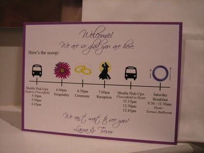 Wedding Welcome Card for the hotel welcome bags / wedding ideas ...