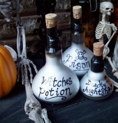Halloween Bottle Decorations Fascinating Potion Bottle Decorations Made With Burned Out Lightbulbs An Inspiration