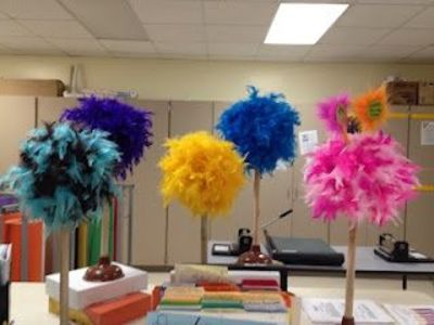 Truffula Trees Made Out Of A Styrofoam Ball And Plunger A