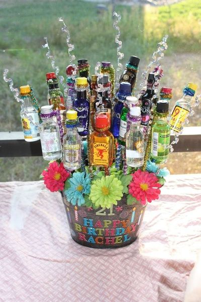 Liquor Bouquet Great 21st Birthday Gift