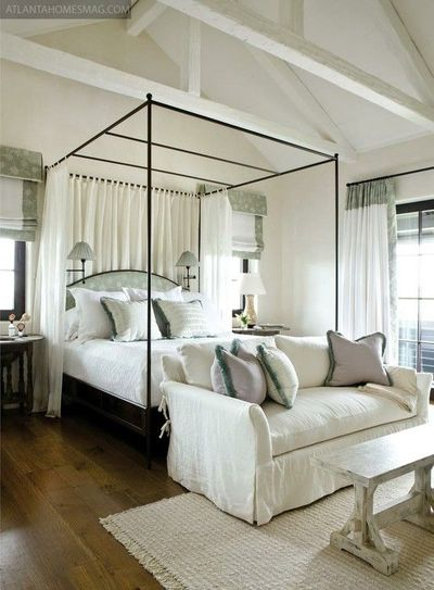 Romantic Canopy Bed, Loveseat At The Foot, And Architectural Details.