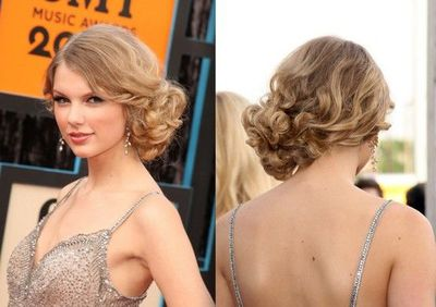 Side Swept Loose Curled Bun Hairstyle Wedding Ideas