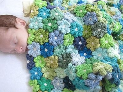 Crochet flowers in a blanket / knits and kits - Juxtapost