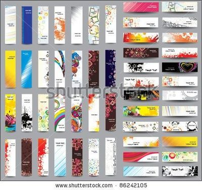 Stock Vector : Mix Collection Vertical And Horizontal Banners