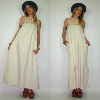 Vintage 70s GUNNE SAX Cream CROCHET Lace TENT Maxi HIPPIE Dress BOHO Draped GYPSY  sc 1 st  Juxtapost : tent maxi dress - memphite.com