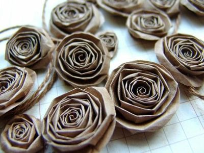 Upcycled Recycled Paper Bag Handmade Paper Flowers By Ilovet