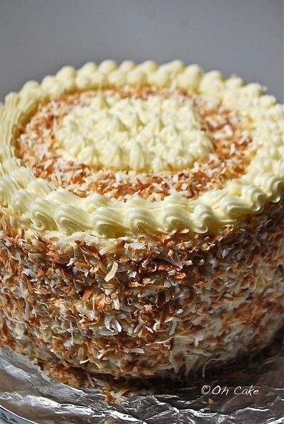 Oh Cake: Eight Layer Coconut Lemon Cake with Raspberries and Toasted Coconut