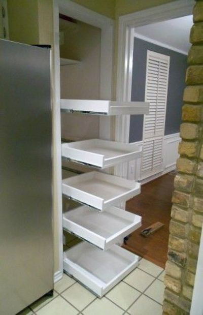 DIY pull out pantry shelves.