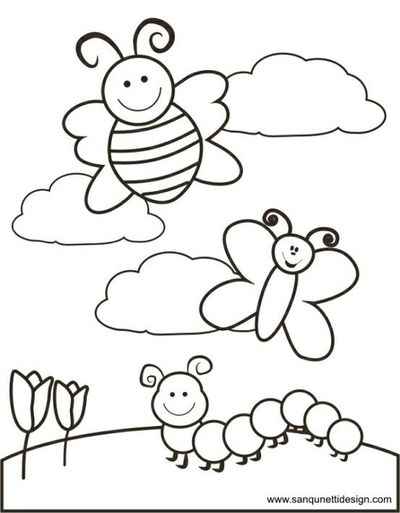 spring time coloring pages Springtime Coloring Page / Preschool items   Juxtapost spring time coloring pages