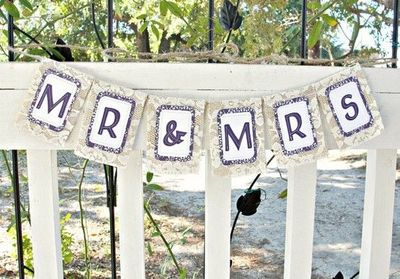Small Mr Mrs Burlap Wedding Banner With Lace By Lazycaterpillar 18 00