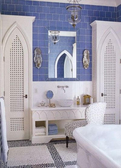 Moroccan inspired bathroom cobalt blue tile with white - Cobalt blue bathroom accessories ...