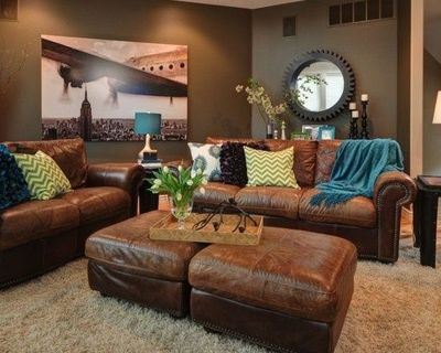Awesome Teal And Brown Living Room Decor