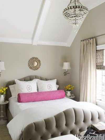 Neutral bedroom with a pop of color design kelie grosso for Bedroom designs neutral colours