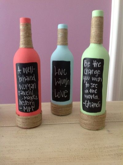 Paint wine bottles, add string to decorate and paint a porti