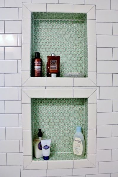 bathroom penny tile shower insert bath ideas Juxtapost