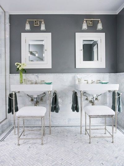Charcoal gray and white create a modern bathroom color for Charcoal bathroom accessories