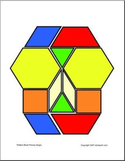 picture regarding Printable Pattern Blocks identify printable practice blocks / Preschool merchandise - Juxtapost