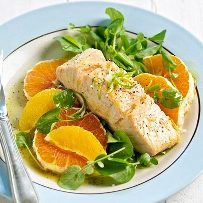 Poached Salmon on Citrus Salad / recipes, entrees, food ...