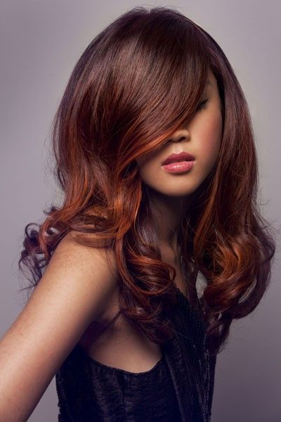 Stunning brown hair with orange highlights created by hair ...