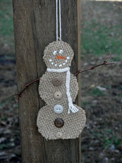 Burlap Snowman Christmas Ornament.
