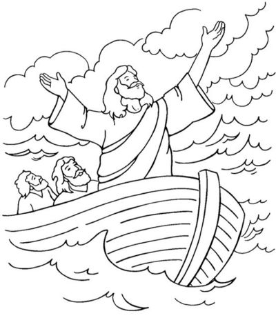 Jesus calms the storm coloring page / Preschool items - Juxtapost