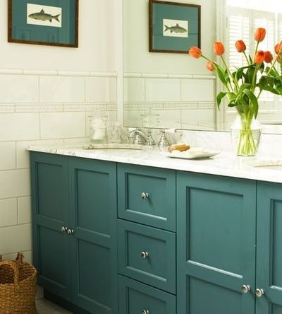 Fun Color For A Guest Or Basement Bathroom Vanity