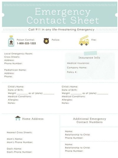 emergency contact sheet printable - great for the ...