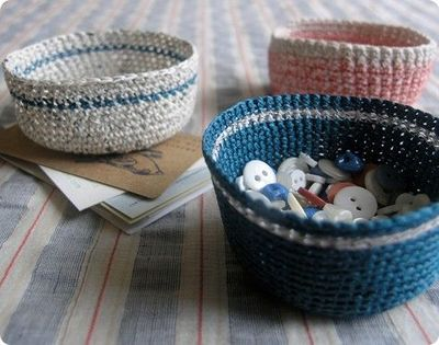 Crochet For Free: Mini Crochet Baskets