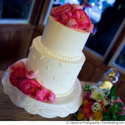 A Simple White Two Tier Wedding Cake With Pretty Pink Flowe